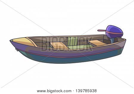 Fishing boat. Isolated on white. Vector Illustration.