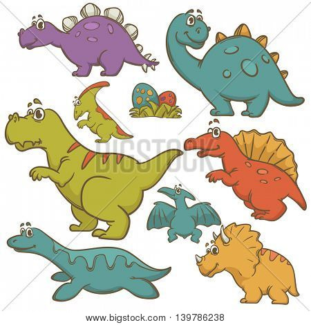 Dinosaur collection set. Dinosaurs cute monster animal and prehistoric. Cartoon style. Vector Illustration.