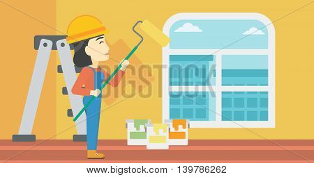 An asian female painter in overalls with a paint roller in hands. Painter painting walls with a paint roller in an apartment. Vector flat design illustration. Horizontal layout.