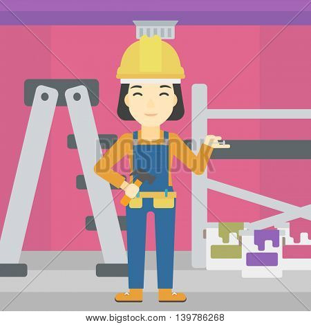 An asian woman in helmet with a hummer and a nail in hands standing on the background of purple walls, paint cans and ladder vector flat design illustration. Square layout.