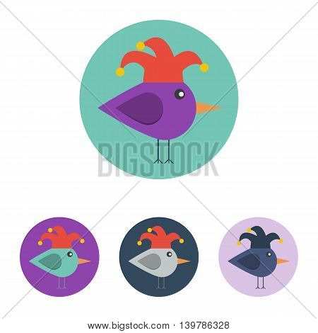 Vector set of icons with bird with jester hat. Icons are in modern flat style in various colors without long shadows. Icons on a circular background for various use.
