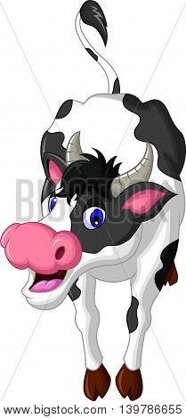 cute cow cartoon posing for you design
