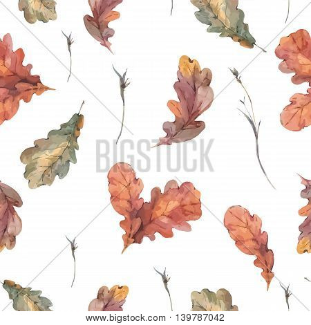 Autumn vintage bouquet of twigs, yellow oak leaves. Botanical watercolor seamless pattern