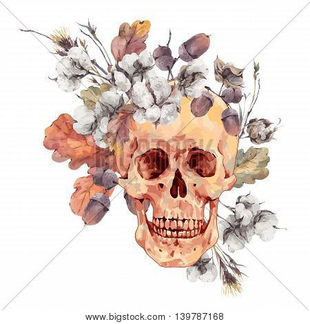 Skull and twigs, cotton flower, yellow oak leaves, Vector, Illustration Day of The Dead