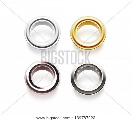 Grommets set isolated 3d illustration. Metal satin brass steel gold silver matte copper eyelets. Banner washers curtain clips. Grommet chrome cringles. Card label tag design earrings side.