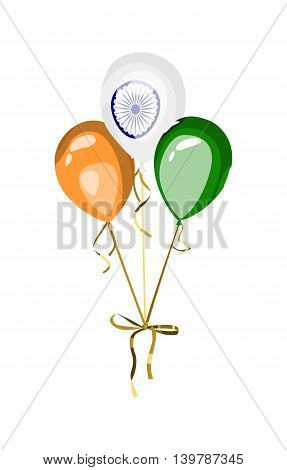 Design element for national holiday of India. Vector balloons with indian flag symbol and colors. Independence or republic day of India.