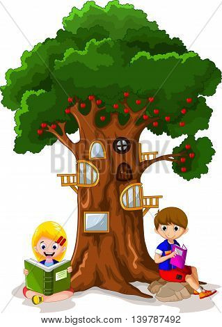 funny child's with apple tree house cartoon