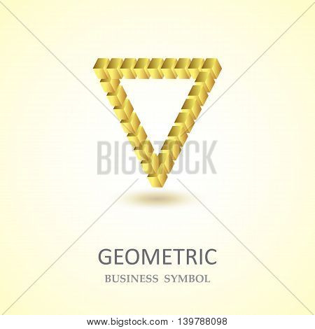The Geometric Design Of Company Logo.triangle.cube.golden
