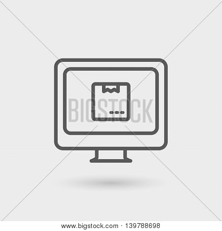 order online thin line icon isolated with shadow