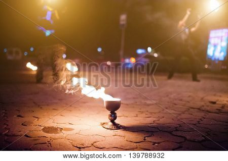 Cup Of Fire On Fire Show At Evening
