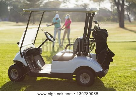Golf buggy on field with couple on background during sunny day