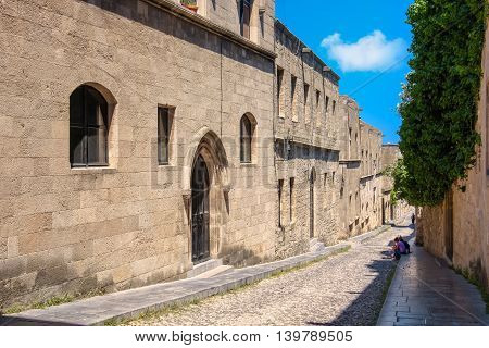 View the Street of the Knights (Odos Ippoton) in Rhodes old town. Greece
