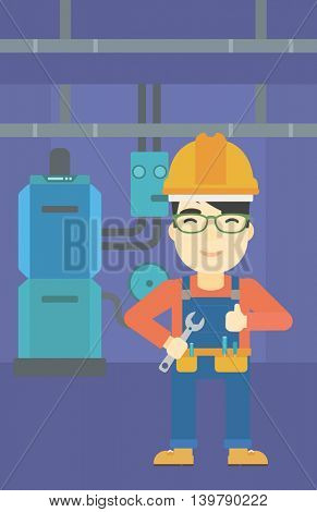 An asian repairman with a spanner in hand. A repairman giving thumb up. A repairman at domestic household boiler room. Vector flat design illustration. Vertical layout.