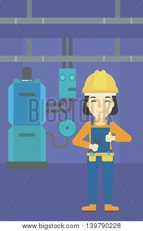 An asian female repairer engineer with a spanner in hand. A repairman giving thumb up. A repairman at domestic household boiler room. Vector flat design illustration. Vertical layout.