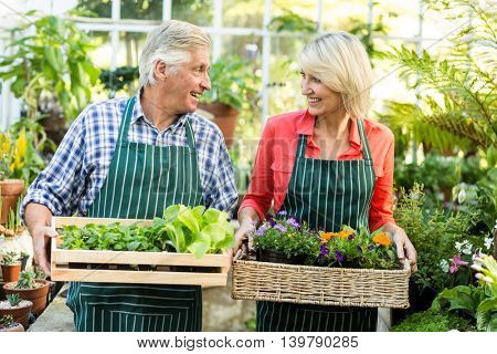 Happy couple holding plant crates while standing at greenhouse