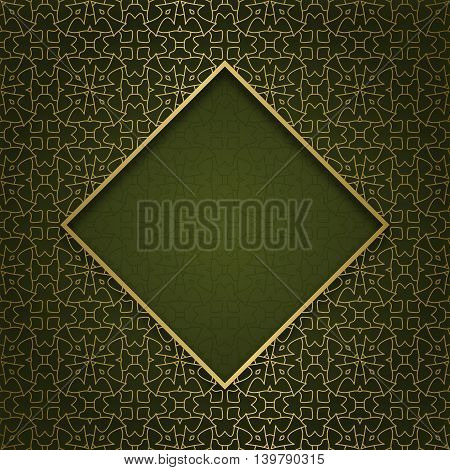 Traditional ornamental background with golden patterned rhombic frame