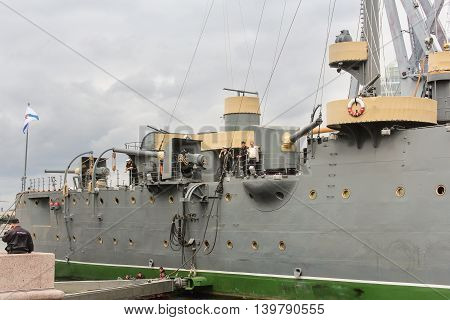 St. Petersburg, Russia - 16 July, The guns of the cruiser
