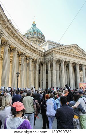 St. Petersburg, Russia - 9 May, A crowd of people at the Kazan Cathedral, 9 May, 2016. Celebration day of victory in the center of St. Petersburg.