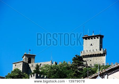 Castle at the top of cliff in San Marino