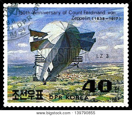 STAVROPOL RUSSIA - JULY 19 2016: a stamp printed in DPR Korea shows Airship LZ-3 Ferdinand Von Zeppelin series cirka 1988