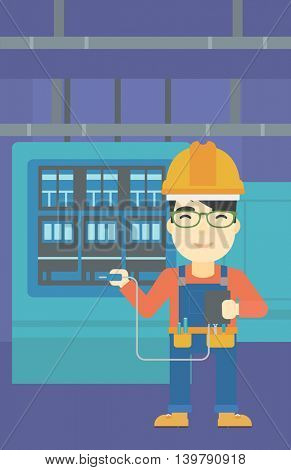 An asian man in helmet measuring the voltage output. Young electrician with electrical equipment standing in front of switchboard. Vector flat design illustration. Vertical layout.