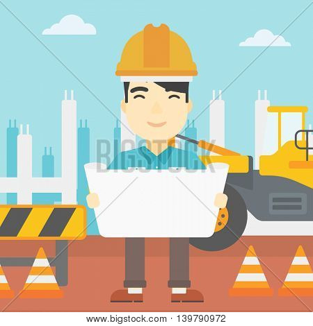 An asian engineer watching a blueprint at construction site. Man with engineer blueprint. Engineer holding a blueprint. Vector flat design illustration. Square layout.