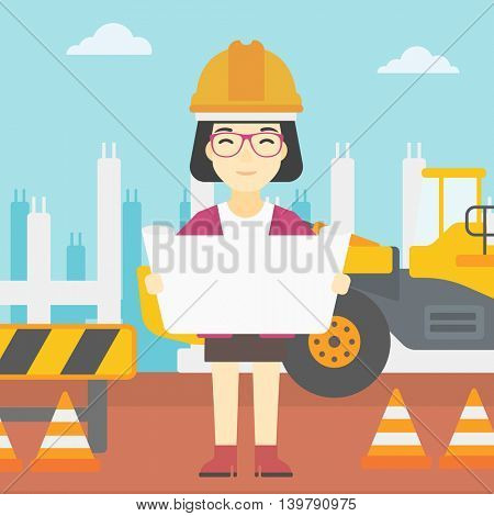 An asian engineer watching a blueprint at construction site. Woman with engineer blueprint. Engineer holding a blueprint. Vector flat design illustration. Square layout.