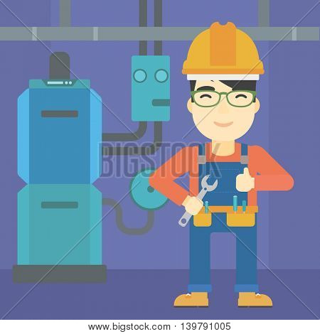 An asian repairman with a spanner in hand. A repairman giving thumb up. A repairman at domestic household boiler room. Vector flat design illustration. Square layout.