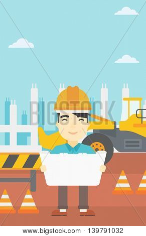 An asian engineer watching a blueprint at construction site. Man with engineer blueprint. Engineer holding a blueprint. Vector flat design illustration. Vertical layout.