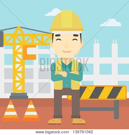 An asian builder with arms crossed. Confident builder on a background of construction site. Builder in helmet on background of road works. Vector flat design illustration. Square layout.