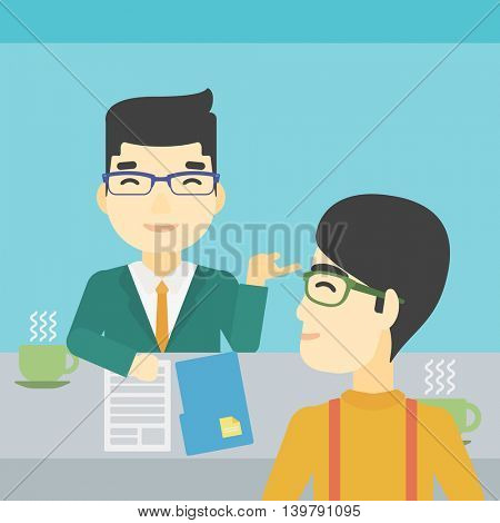 An asian male journalist interviewing a young man on a light blue background. Vector flat design illustration. Square layout.
