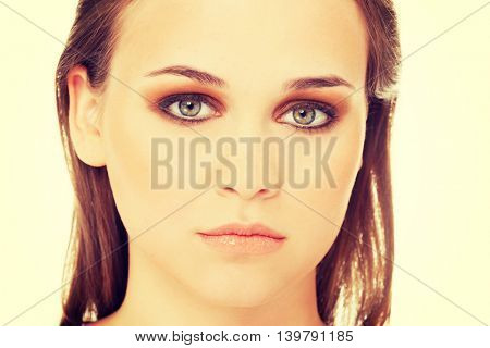 Attractive female's face. Close up.