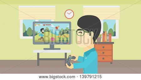 An asian young man playing video game with gamepad in hands in living room. Vector flat design illustration. Horizontal layout.