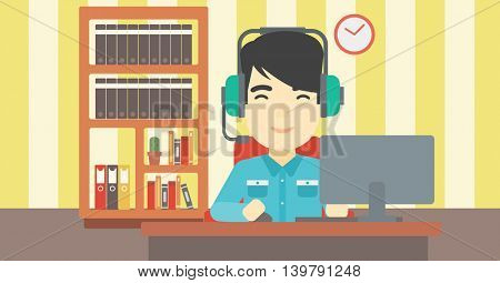 Asian man playing computer game on the background of living room. Gamer in headphones playing online games. Gamer using computer for playing game. Vector flat design illustration. Horizontal layout.