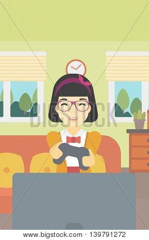 An asian happy gamer playing video game on the television. An excited young woman with console in hands playing video game at home. Vector flat design illustration. Vertical layout.