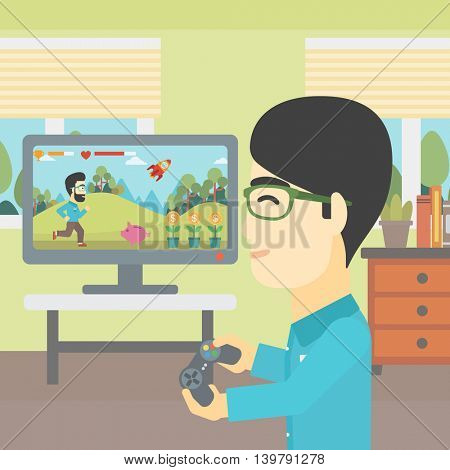 An asian young man playing video game with gamepad in hands in living room. Vector flat design illustration. Square layout.