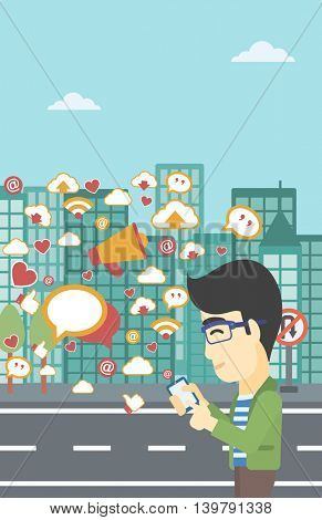 An asian man using smartphone with lots of social media application icons flying out on a city background. Vector flat design illustration. Vertical layout.