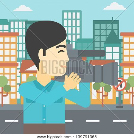 An asian young cameraman looking through movie camera. Man with professional video camera in the city. Cameraman shooting outdoor. Vector flat design illustration. Square layout.