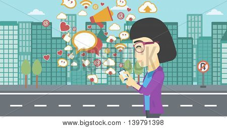 An asian woman using smartphone with lots of social media application icons flying out on a city background. Vector flat design illustration. Horizontal layout.