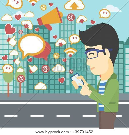 An asian man using smartphone with lots of social media application icons flying out on a city background. Vector flat design illustration. Square layout.
