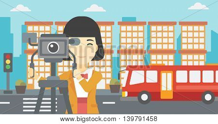 An asian young female cameraman looking through movie camera on a tripod. Young woman with professional video camera shooting in the city. Vector flat design illustration. Horizontal layout.