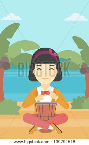 An asian young woman playing ethnic drum. Mucisian playing ethnic drum on the tropical beach. Woman playing ethnic music on tom-tom. Vector flat design illustration. Vertical layout.