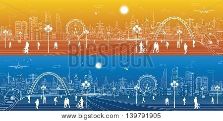 Amazing infrastructure and transport panorama. Train move, railway station, town square, people walk, night city skyline, arch bridge, airplane fly, vector design art