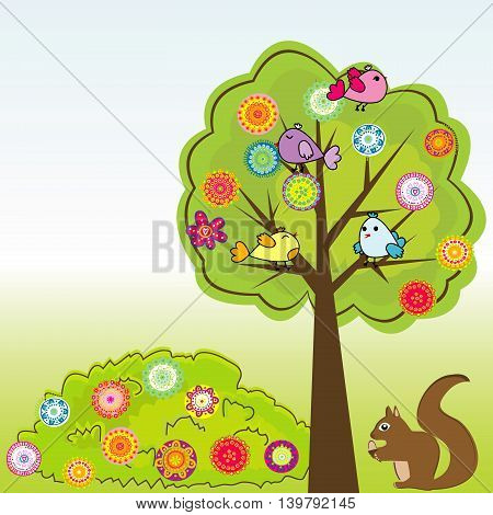 Cartoon greeting card with birds and squirrel