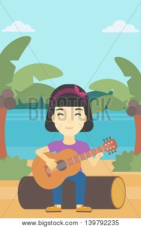 An asian happy musician sitting on log and playing an acoustic guitar. Woman practicing in playing guitar. Guitarist playing on the beach. Vector flat design illustration. Vertical layout.