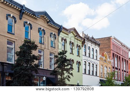 Colorful old buildings on the street of Savannah Georgia