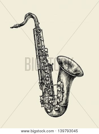 Jazz music. Hand-drawn sketch saxophone, musical instrument. Vector illustration