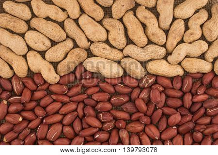 Peeled peanut on well peanuts.Peeled peanut on well peanuts