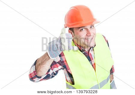 Handsome Builder Doing A Call Gesture