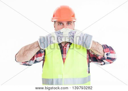 Constructor In Safety Equipment Covering His Mouth